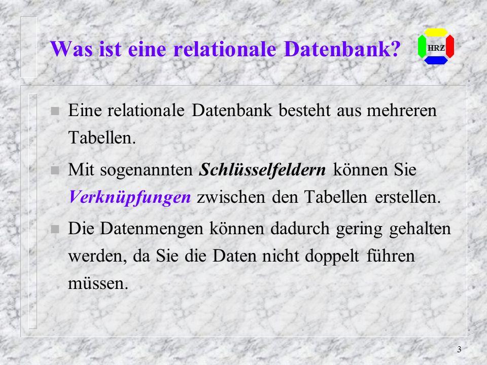 3 n Eine relationale Datenbank besteht aus mehreren Tabellen. n Mit sogenannten Schlüsselfeldern können Sie Verknüpfungen zwischen den Tabellen erstel