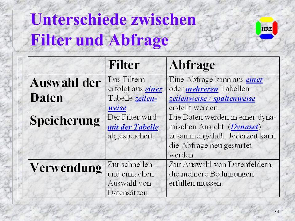 34 Unterschiede zwischen Filter und Abfrage HRZ
