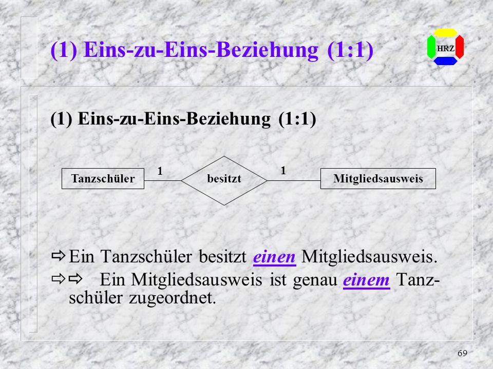 69 (1) Eins-zu-Eins-Beziehung (1:1) HRZ (1) Eins-zu-Eins-Beziehung (1:1) Ein Tanzschüler besitzt einen Mitgliedsausweis. Ein Mitgliedsausweis ist gena
