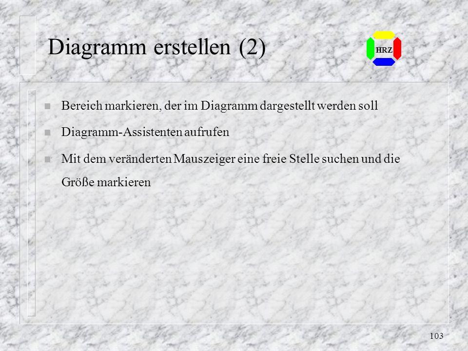 102 HRZ 18. Diagramm erstellen n Zahlenwerte können graphisch dargestellt werden n Excel bietet verschiedene Typen von Grunddiagrammen an n Einzelne E