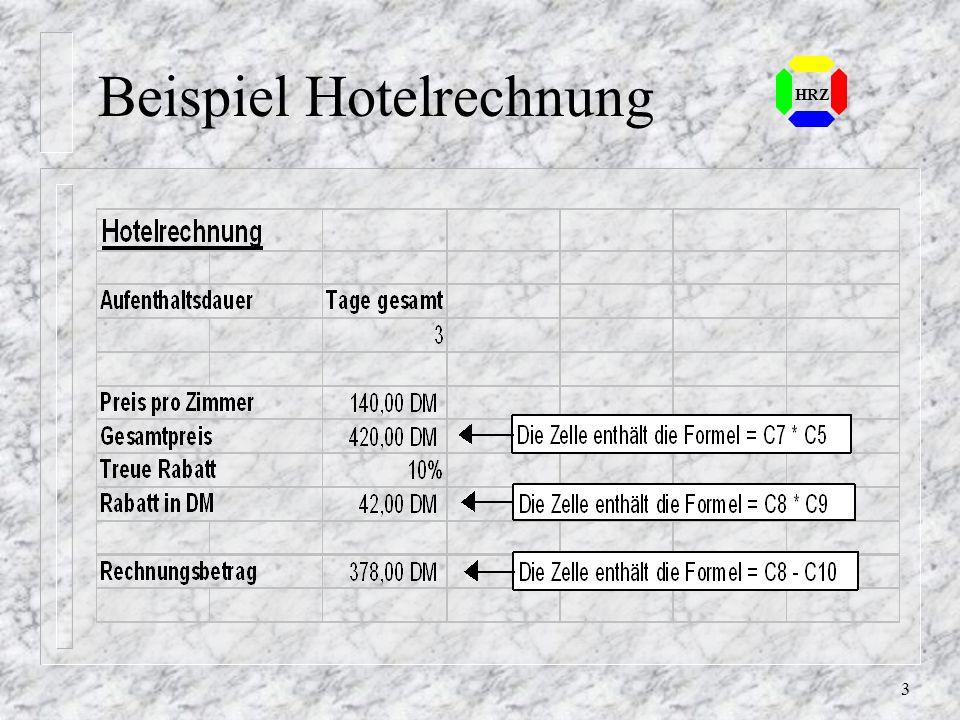 103 HRZ Diagramm erstellen (2) n Bereich markieren, der im Diagramm dargestellt werden soll n Diagramm-Assistenten aufrufen n Mit dem veränderten Mauszeiger eine freie Stelle suchen und die Größe markieren