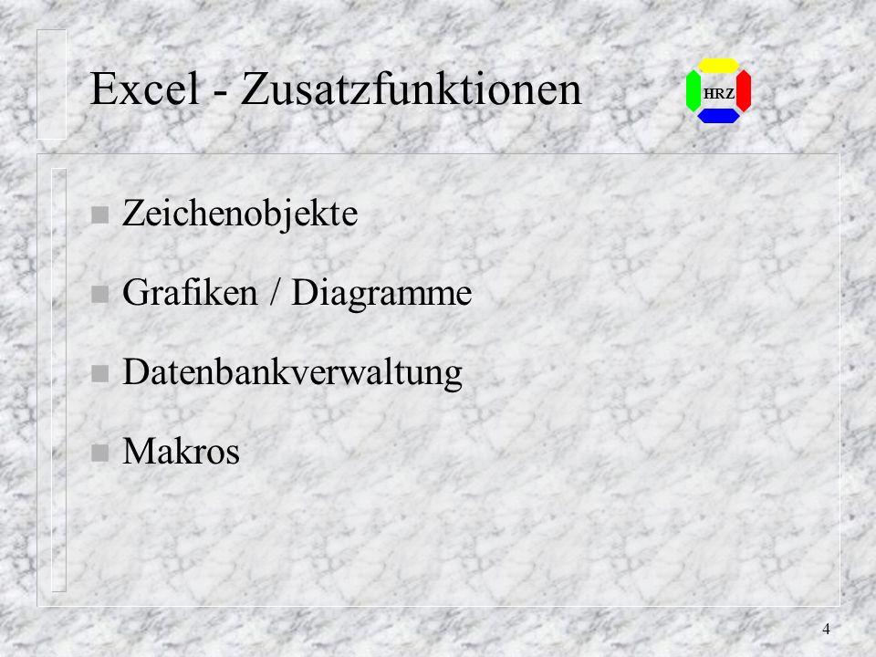 4 Excel - Zusatzfunktionen n Zeichenobjekte n Grafiken / Diagramme n Datenbankverwaltung n Makros HRZ