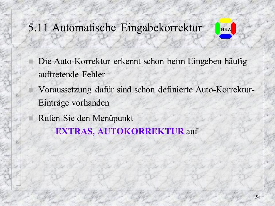 53 HRZ 5.10 Automatische Eingabe n Ist ein Hilfsmittel, das die Eingabe oft wiederholende Spalteneinträge erleichtert n Excel erstellt automatisch ein