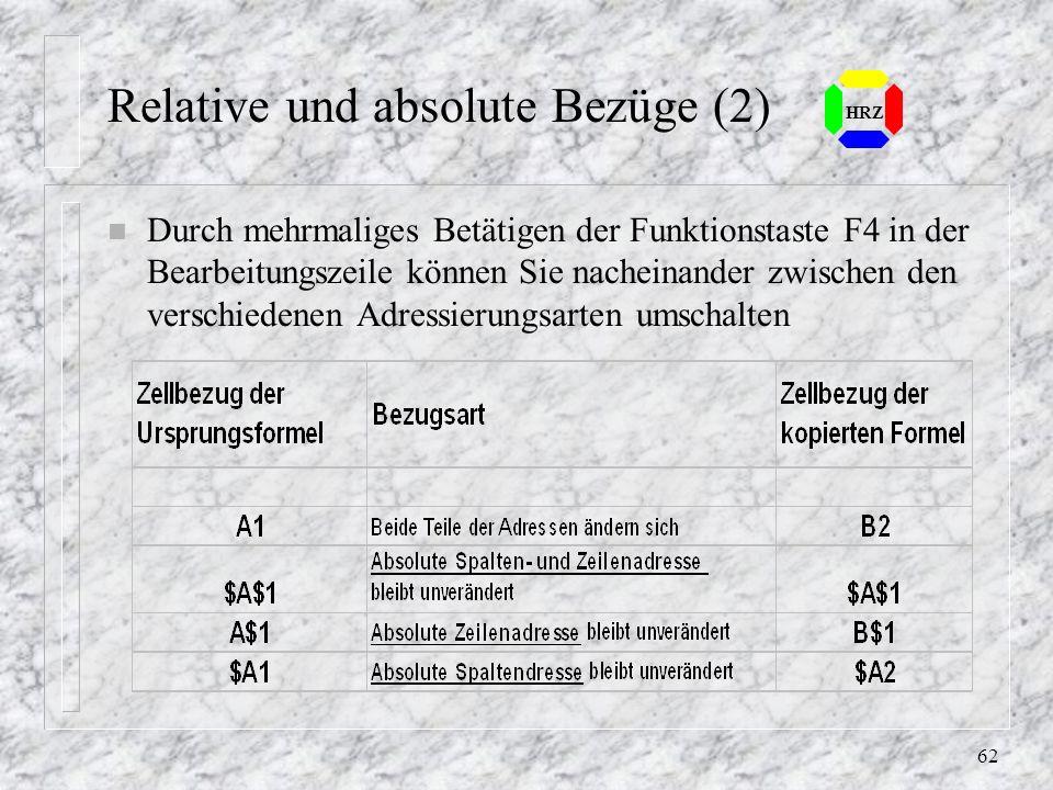 61 HRZ 6.5 Relative und absolute Bezüge n Relative Bezüge in Formeln passen sich nach dem Kopieren automatisch an ihre neue Position an n Absolute Bez