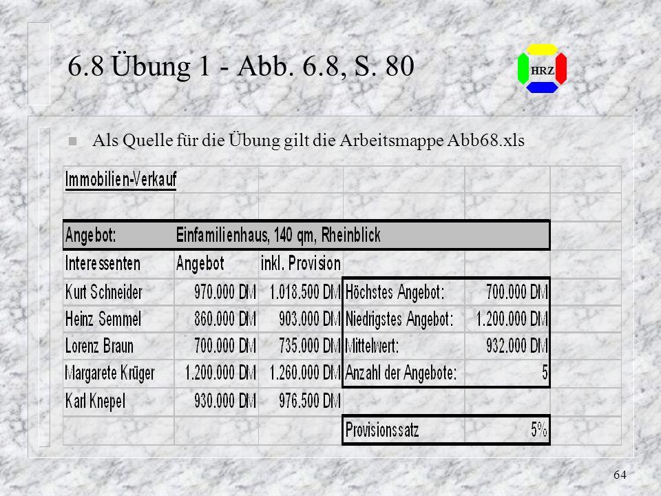 63 HRZ 6.6 Fehlermeldungen n #BEZUG!Zellbezüge überprüfen n #DIV/0!Division durch Null n #NAME?Namen von Zellen oder Bereichen sind falsch n #NULL!Die