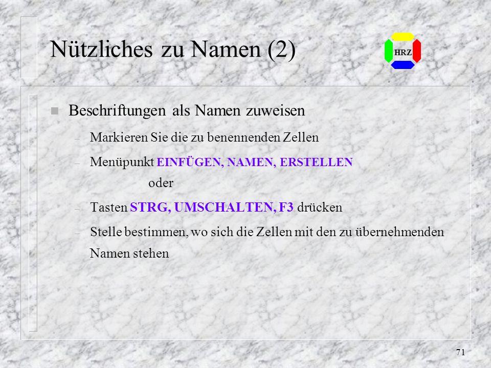 70 HRZ 7.4 Nützliches zu Namen n Bereich eines Namens markieren – Namensfeld öffnen und aussuchenoder – Funktionstaste F5 für die Funktion GEHE ZU...