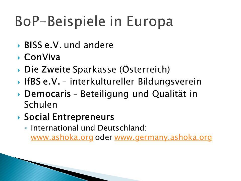 BISS e.V. und andere ConViva Die Zweite Sparkasse (Österreich) IfBS e.V.