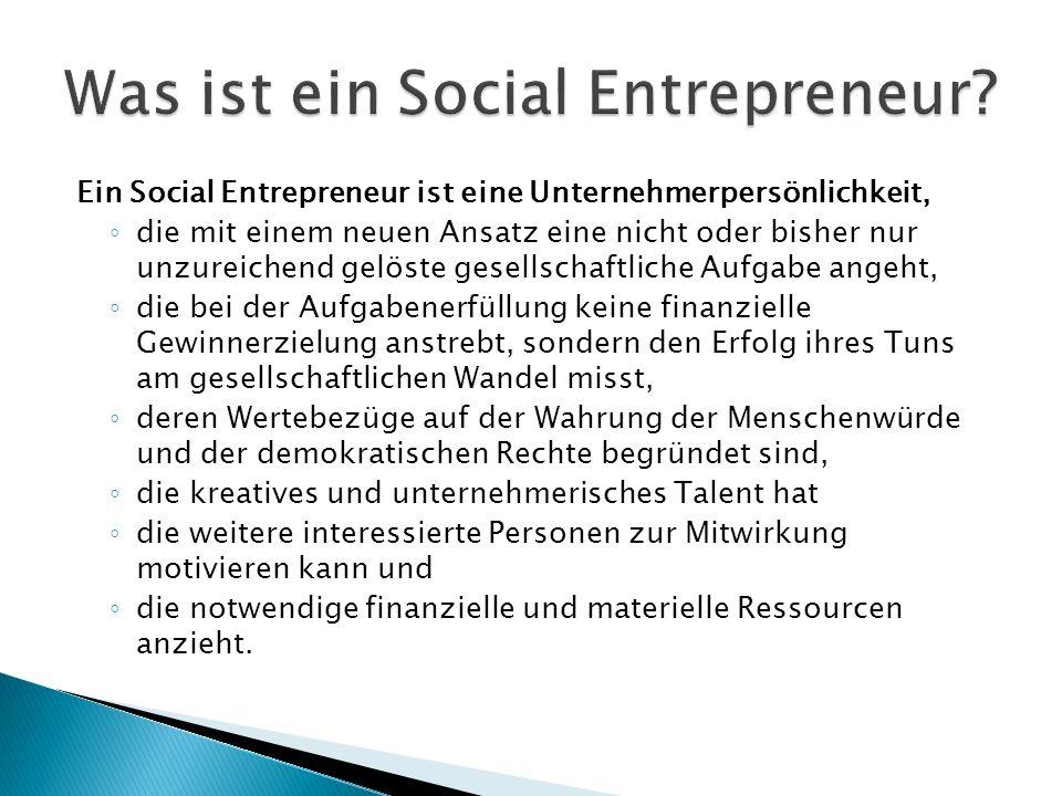 Ein Social Entrepreneur ist eine Unternehmerpersönlichkeit, die mit einem neuen Ansatz eine nicht oder bisher nur unzureichend gelöste gesellschaftliche Aufgabe angeht, die bei der Aufgabenerfüllung keine finanzielle Gewinnerzielung anstrebt, sondern den Erfolg ihres Tuns am gesellschaftlichen Wandel misst, deren Wertebezüge auf der Wahrung der Menschenwürde und der demokratischen Rechte begründet sind, die kreatives und unternehmerisches Talent hat die weitere interessierte Personen zur Mitwirkung motivieren kann und die notwendige finanzielle und materielle Ressourcen anzieht.