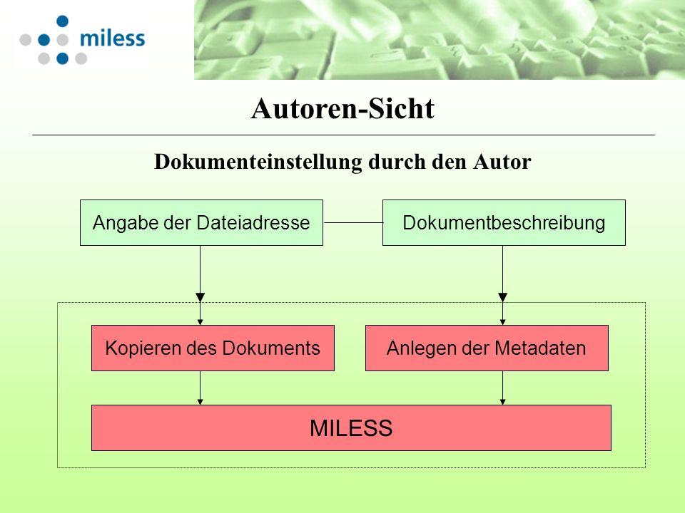 Dokumenteinstellung durch den Autor Angabe der DateiadresseDokumentbeschreibung Kopieren des DokumentsAnlegen der Metadaten MILESS Autoren-Sicht