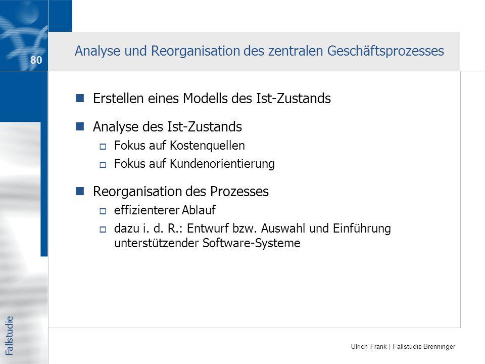 Ulrich Frank | Fallstudie Brenninger Analyse und Reorganisation des zentralen Geschäftsprozesses Erstellen eines Modells des Ist-Zustands Analyse des