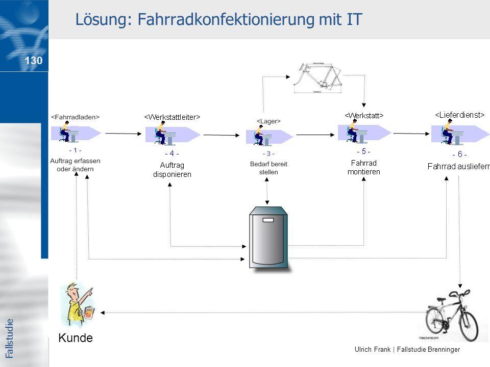 Ulrich Frank | Fallstudie Brenninger Lösung: Fahrradkonfektionierung mit IT Kunde Fallstudie 130