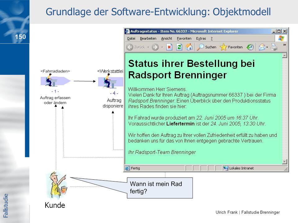 Ulrich Frank | Fallstudie Brenninger Grundlage der Software-Entwicklung: Objektmodell Kunde Fallstudie 150