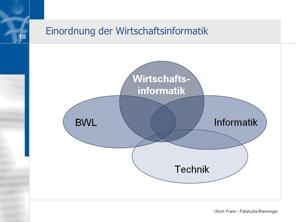 Ulrich Frank | Fallstudie Brenninger Einordnung der Wirtschaftsinformatik 10