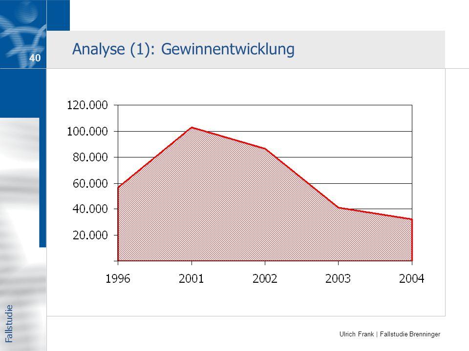 Ulrich Frank | Fallstudie Brenninger Analyse (1): Gewinnentwicklung Fallstudie 40