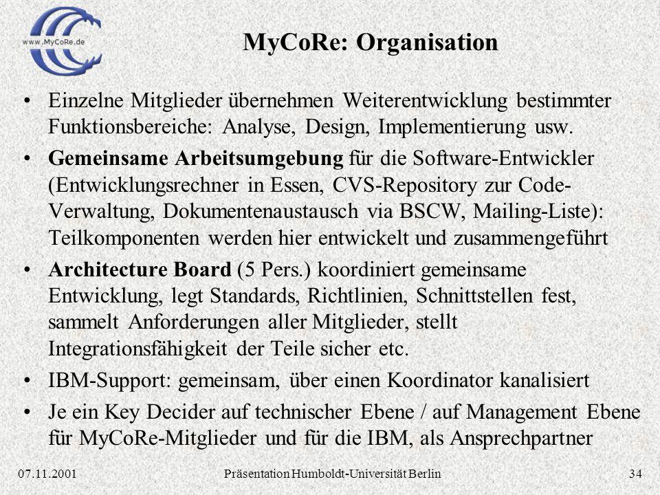 3407.11.2001Präsentation Humboldt-Universität Berlin Einzelne Mitglieder übernehmen Weiterentwicklung bestimmter Funktionsbereiche: Analyse, Design, Implementierung usw.