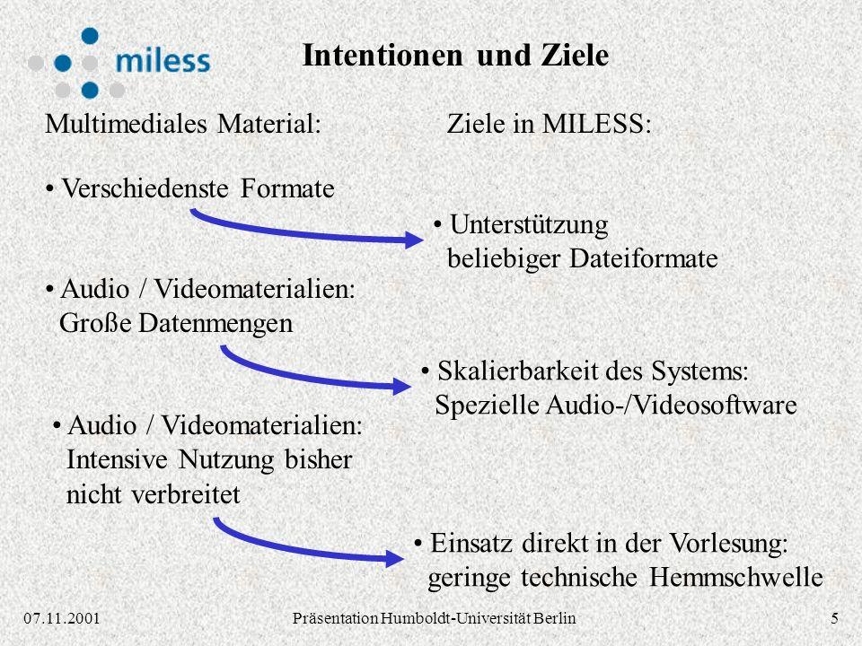 607.11.2001Präsentation Humboldt-Universität Berlin Medien- zentrum Universitäts- bibliothek Fachbereiche Hochschul- rechenzentrum Gemeinschaftsprojekt der zentralen Einrichtungen der Universität Essen http://miless.uni-essen.de/