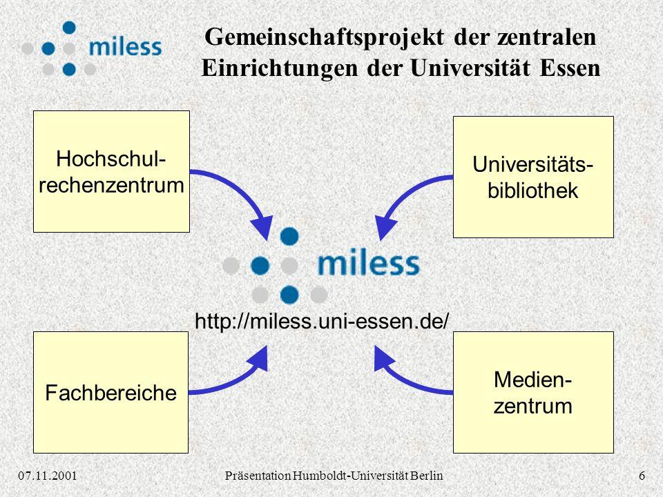2707.11.2001Präsentation Humboldt-Universität Berlin Stand 17.8.1998 NA Dokumentendaten