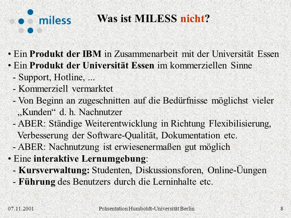 2907.11.2001Präsentation Humboldt-Universität Berlin Stand 17.8.1998 NA Applet für Autoren: Einstellen / Ändern