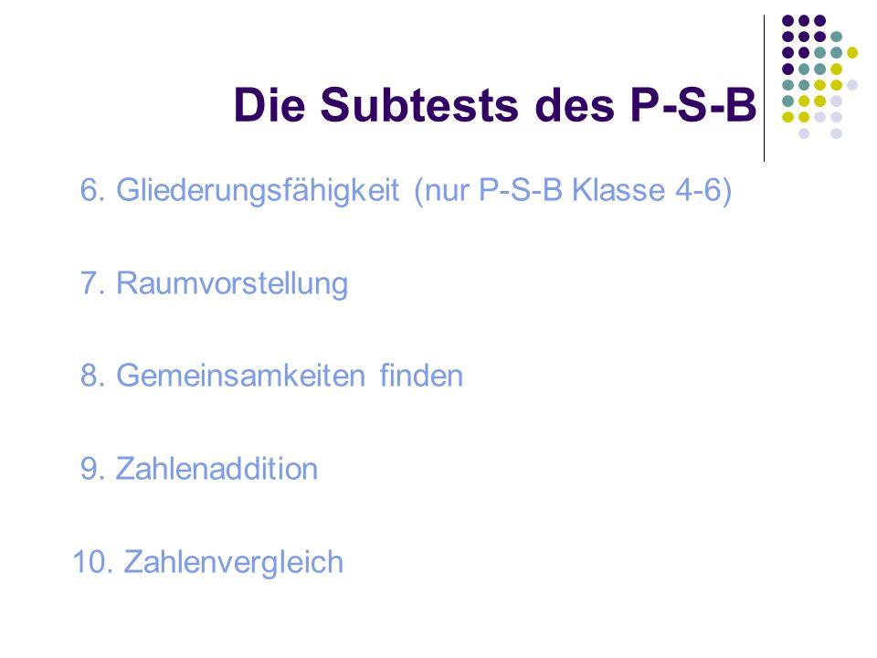 Die Subtests des P-S-B 6. Gliederungsfähigkeit (nur P-S-B Klasse 4-6) 7. Raumvorstellung 8. Gemeinsamkeiten finden 9. Zahlenaddition 10. Zahlenverglei