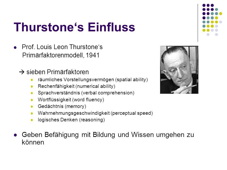 Thurstones Einfluss Prof. Louis Leon Thurstones Primärfaktorenmodell, 1941 sieben Primärfaktoren räumliches Vorstellungsvermögen (spatial ability) Rec