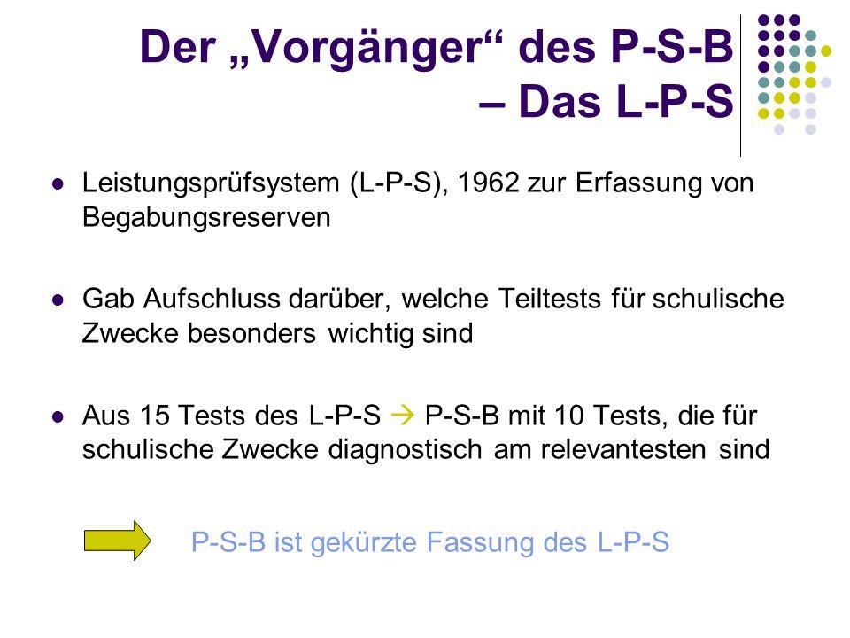 Der Vorgänger des P-S-B – Das L-P-S Leistungsprüfsystem (L-P-S), 1962 zur Erfassung von Begabungsreserven Gab Aufschluss darüber, welche Teiltests für