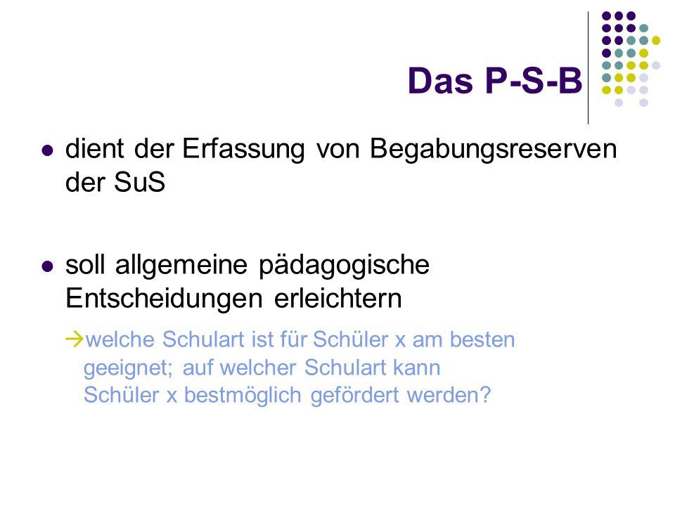 Das P-S-B dient der Erfassung von Begabungsreserven der SuS soll allgemeine pädagogische Entscheidungen erleichtern welche Schulart ist für Schüler x