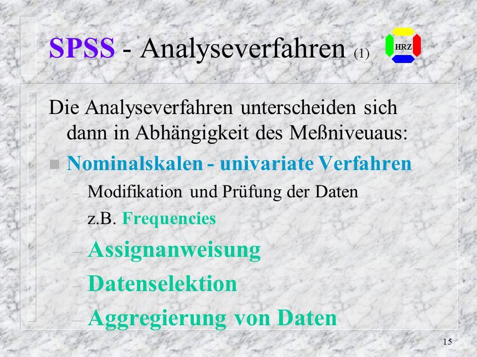14 SPSS - Daten Meßniveau – Nominalskalen Zahlen, denen Eigenschaften zugeordnet werden z.B. Geschlecht, Farbe – Ordinal- oder Rangskalen w.o., bilden