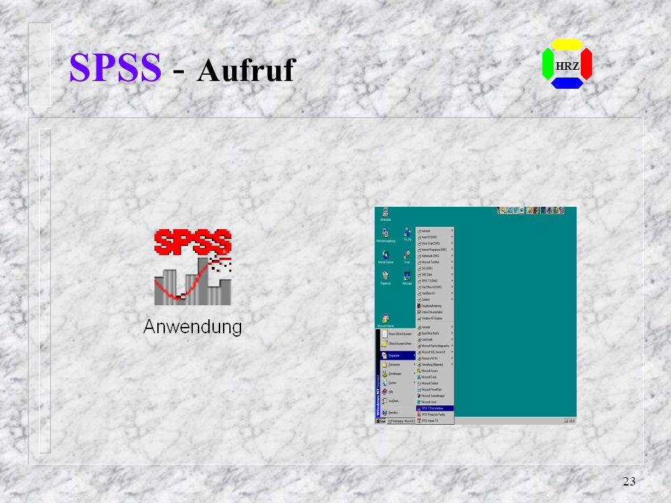 22 SPSS - Arbeitsweise Es gibt zwei Modi mit SPSS zu arbeiten: Batch DOS/UNIX: Auf Kommandoebene wird eine Datei mit SPSS-Anweisungen ausgeführt WIN: