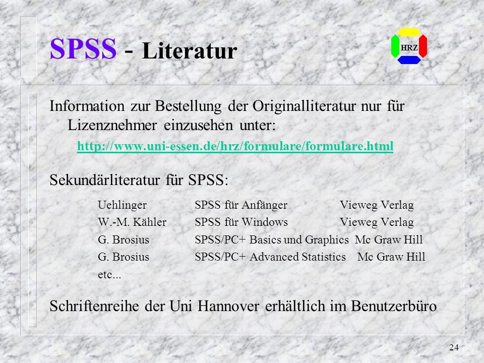 23 SPSS - Aufruf HRZ