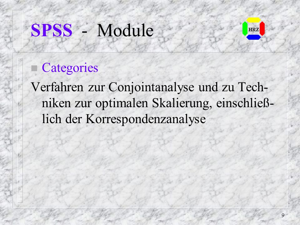 19 SPSS - Header Der Header beschreibt die SPSS - Systemdatei: n Name File g:\spsswork\bank.sav, Label: 5.00.00 Created: 29 Aug.