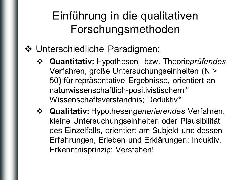 Einführung in die qualitativen Forschungsmethoden Unterschiedliche Paradigmen: Quantitativ: Hypothesen- bzw. Theorieprüfendes Verfahren, große Untersu