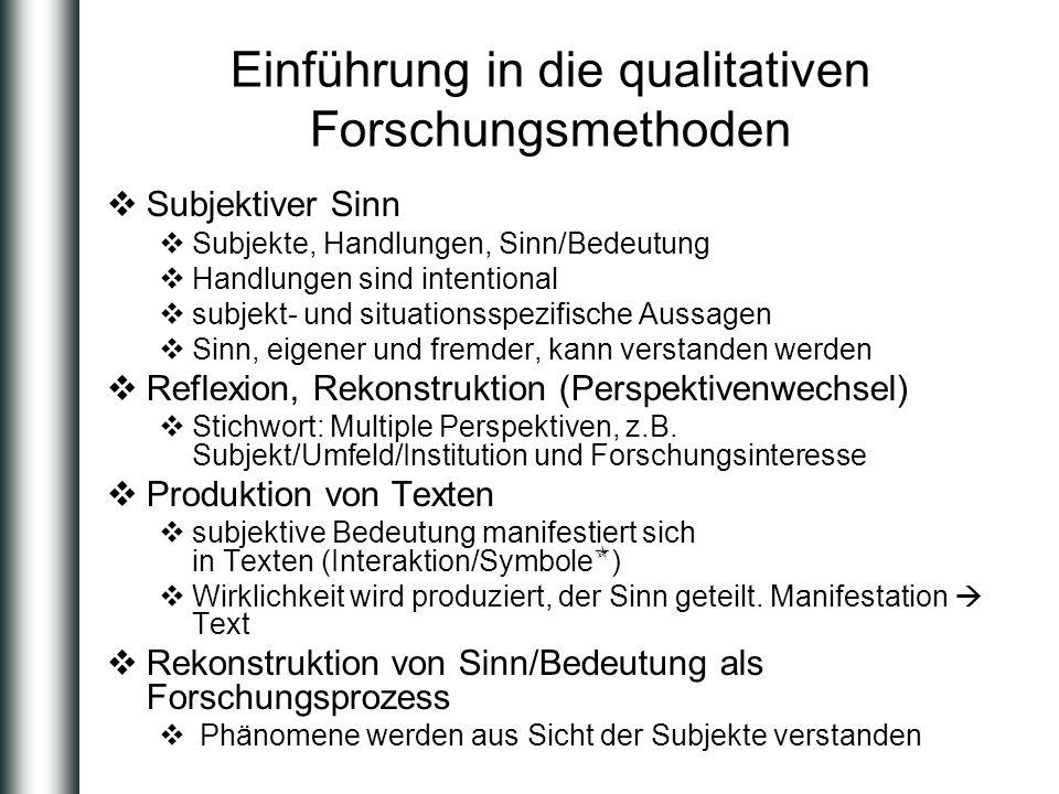 Einführung in die qualitativen Forschungsmethoden Subjektiver Sinn Subjekte, Handlungen, Sinn/Bedeutung Handlungen sind intentional subjekt- und situa