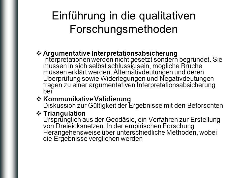 Einführung in die qualitativen Forschungsmethoden Argumentative Interpretationsabsicherung Interpretationen werden nicht gesetzt sondern begründet. Si