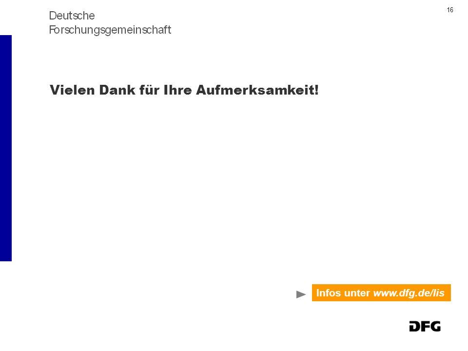 16 Vielen Dank für Ihre Aufmerksamkeit! Infos unter www.dfg.de/lis