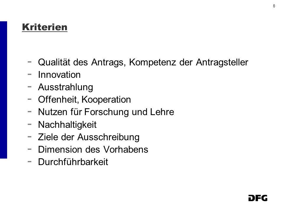 8 Kriterien - Qualität des Antrags, Kompetenz der Antragsteller - Innovation - Ausstrahlung - Offenheit, Kooperation - Nutzen für Forschung und Lehre - Nachhaltigkeit - Ziele der Ausschreibung - Dimension des Vorhabens - Durchführbarkeit