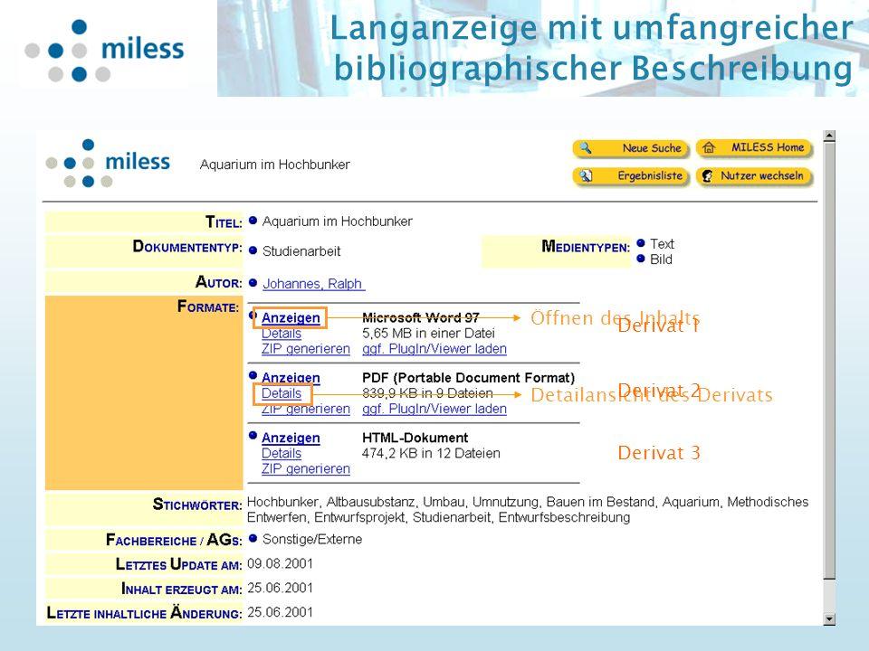 Langanzeige mit umfangreicher bibliographischer Beschreibung Öffnen des Inhalts Detailansicht des Derivats Derivat 1 2 3