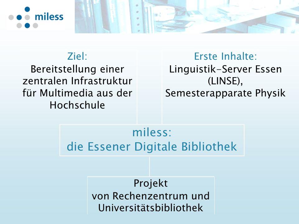 Projekt von Rechenzentrum und Universitätsbibliothek Erste Inhalte: Linguistik-Server Essen (LINSE), Semesterapparate Physik Ziel: Bereitstellung einer zentralen Infrastruktur für Multimedia aus der Hochschule miless: die Essener Digitale Bibliothek