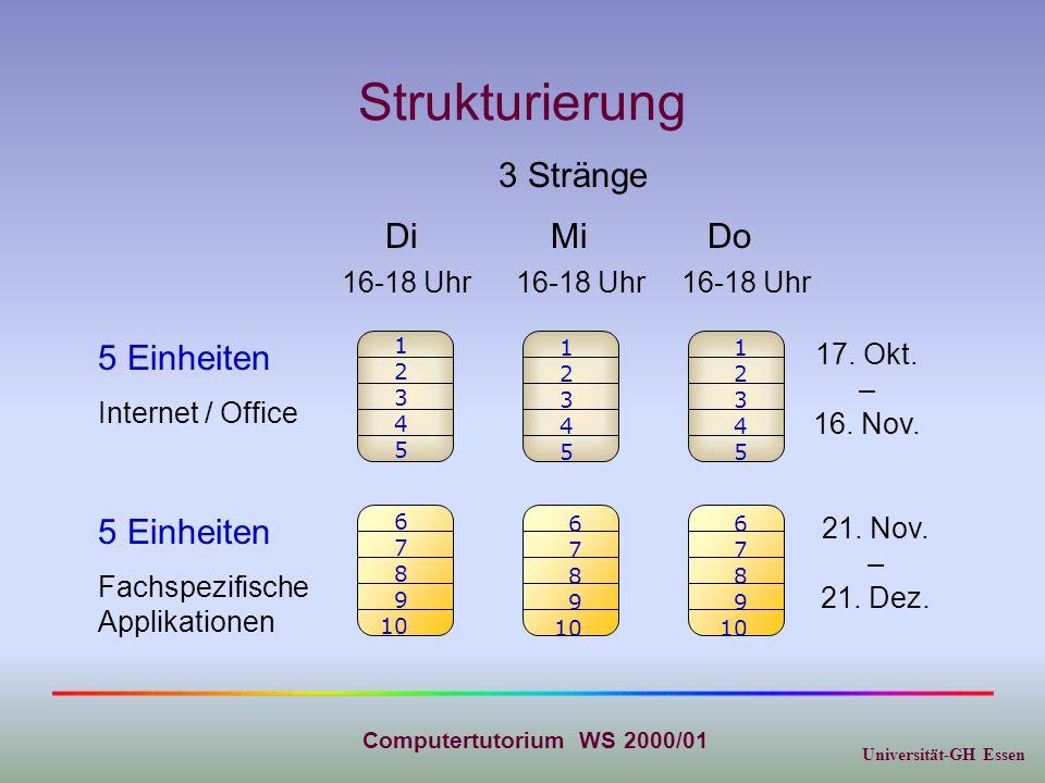 Universität-GH Essen Computertutorium WS 2000/01 Strukturierung 5 Einheiten Internet / Office 5 Einheiten Fachspezifische Applikationen DiMiDo 17. Okt
