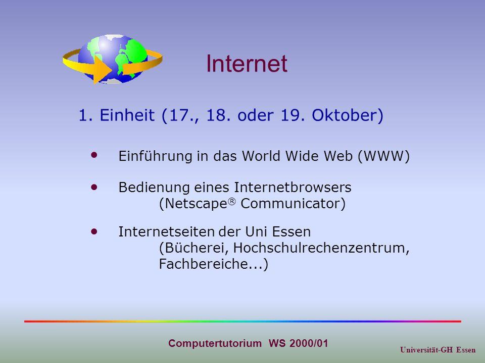 Universität-GH Essen Computertutorium WS 2000/01 Internet Internetseiten der Uni Essen (Bücherei, Hochschulrechenzentrum, Fachbereiche...) Einführung