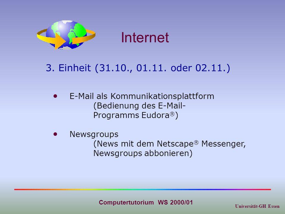 Universität-GH Essen Computertutorium WS 2000/01 Internet Chat(Funktionsweise und Befehle im IRC, Chatten im WWW, Teamarbeit via Chat) Newsgroups 4.