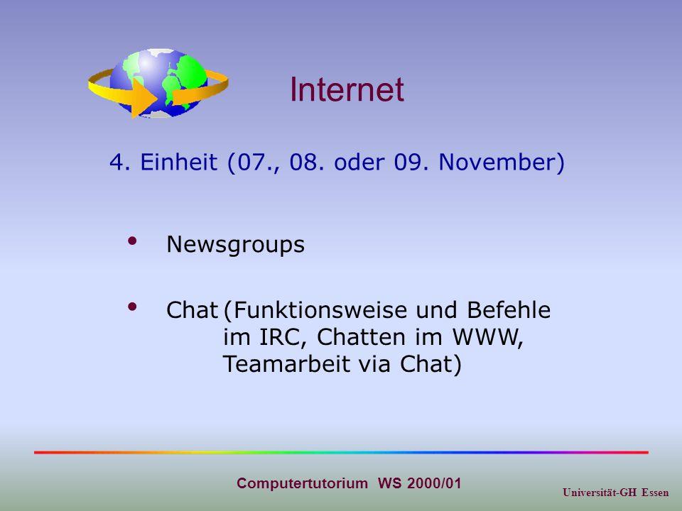 Universität-GH Essen Computertutorium WS 2000/01 Internet 5.