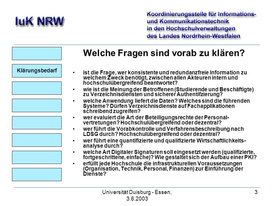 Universität Duisburg - Essen, 3.6.2003 3 Klärungsbedarf Welche Fragen sind vorab zu klären.
