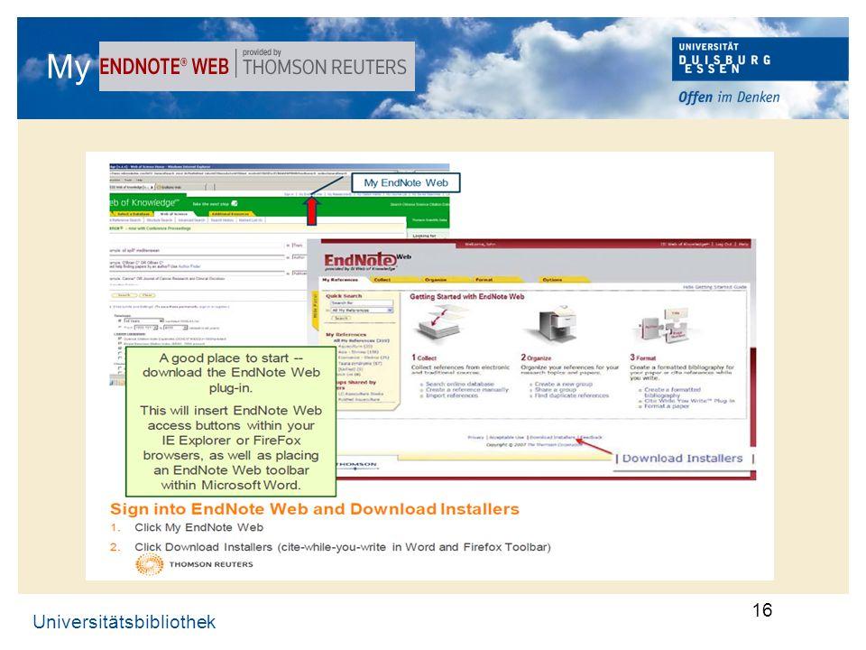 Universitätsbibliothek 16 My EndNote-Web …