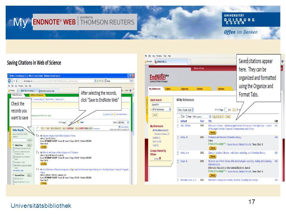 Universitätsbibliothek 17 My EndNote-Web …