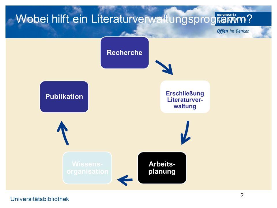 Universitätsbibliothek 3 Warum Literaturverwaltungsprogramme.