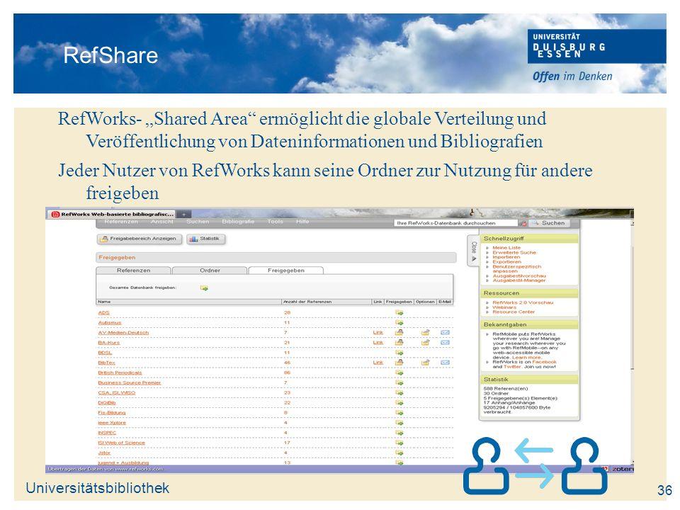 Universitätsbibliothek 36 RefShare RefWorks- Shared Area ermöglicht die globale Verteilung und Veröffentlichung von Dateninformationen und Bibliografi