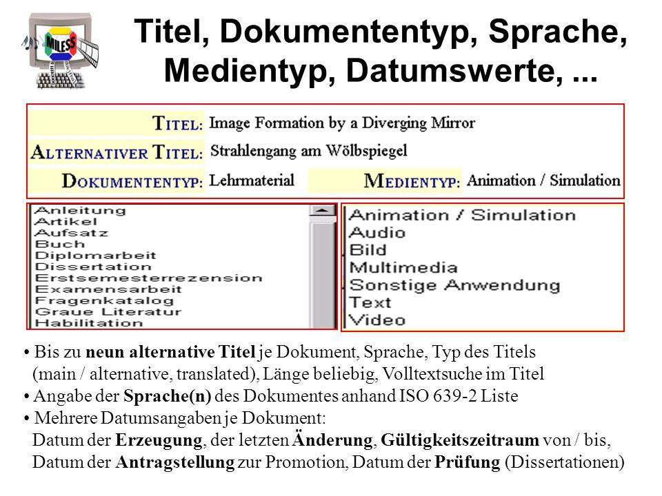 Titel, Dokumententyp, Sprache, Medientyp, Datumswerte,... Bis zu neun alternative Titel je Dokument, Sprache, Typ des Titels (main / alternative, tran