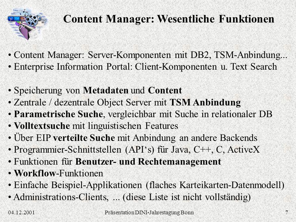 804.12.2001Präsentation DINI-Jahrestagung Bonn MILESS Java Persistenz-Layer: MILESS Objekte erzeugen, lesen, ändern, löschen, suchen IBM Enterprise Information Portal / Content Manager API (C, C++, Java,...) MILESS Datenmodell Java-Klassen: Dokumente Personen Klassifikationen Kategorien Derivate Dateien und ihre Beziehungen untereinander MILESS Java Servlets: Ablaufsteuerung, Generierung von HTML-Seiten, Login MILESS Autoren-GUI (Java Applet): Inhalte einbringen und bearbeiten MILESS HTML-Seiten: Inhalte suchen und anzeigen, durch den Bestand navigieren CMCM WEB-SRVWEB-SRV BROWSERBROWSER MILESS Software-Architektur