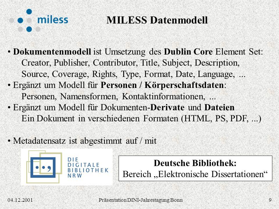 904.12.2001Präsentation DINI-Jahrestagung Bonn Dokumentenmodell ist Umsetzung des Dublin Core Element Set: Creator, Publisher, Contributor, Title, Subject, Description, Source, Coverage, Rights, Type, Format, Date, Language,...
