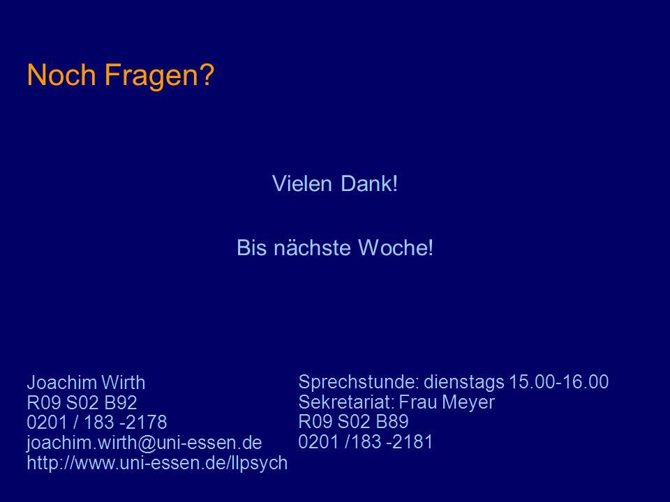 Noch Fragen? Vielen Dank! Bis nächste Woche! Joachim Wirth R09 S02 B92 0201 / 183 -2178 joachim.wirth@uni-essen.de http://www.uni-essen.de/llpsych Spr